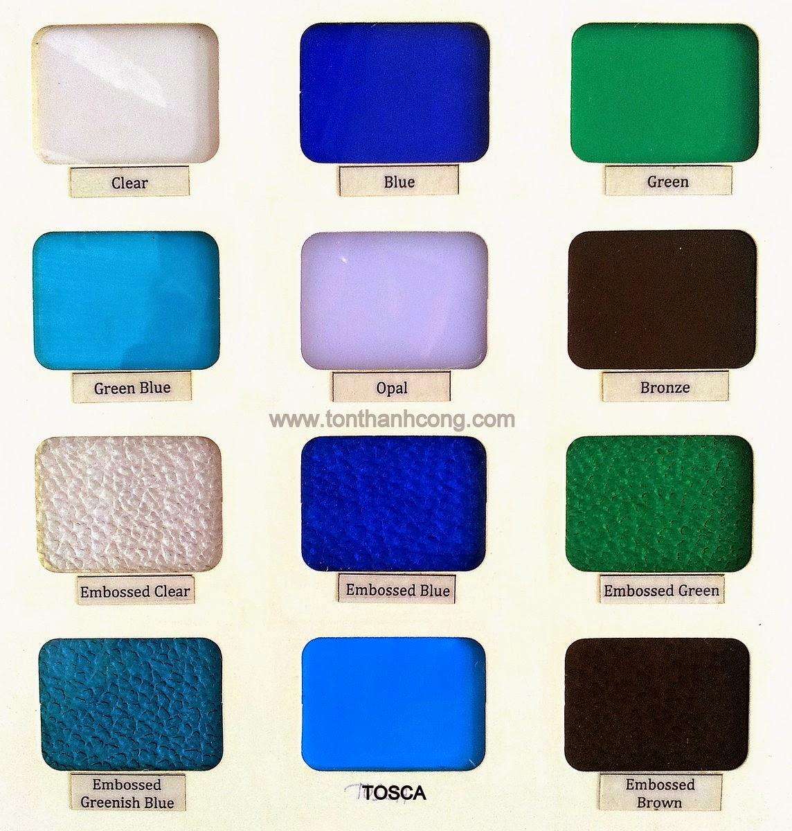 Tấm lợp lấy sáng thông minh polycarbonate đặc ruột dày 3mm ảnh catalog mã màu